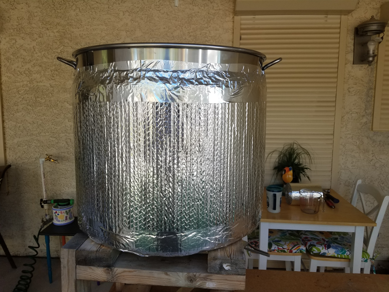 Mash Tun Bottom Drain Wrapped In Reflectix
